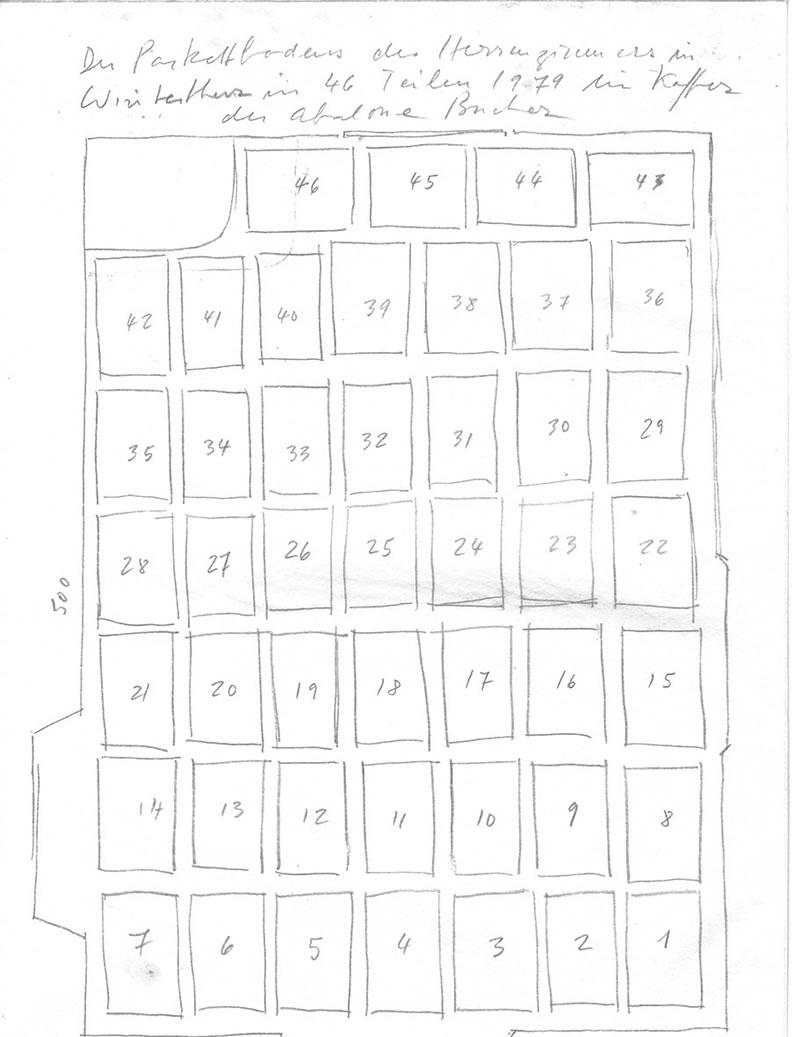 1979 Der Parkettboden des Herrenzimmer in Winterthur - Wülflingen abgegossen in 46 Teilen. ABALONE BUCHER, Ink on paper
