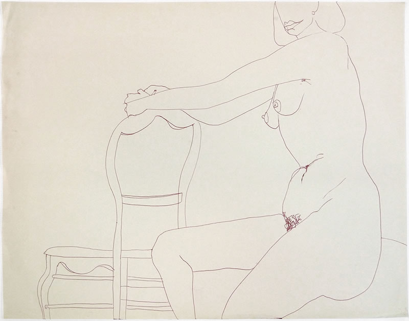 1954 nude with chaire, Ink on paper
