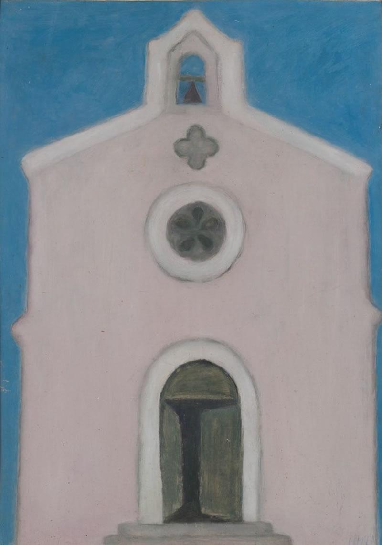 1960 Church in Mykonos, Greece, Oil on cardboard, 68 x47,5 cm