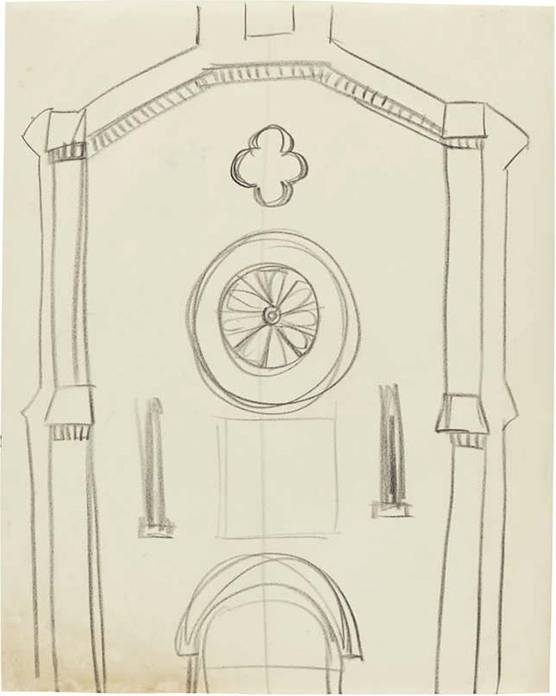 1960 Church in Mykonos, Greece, pencil on paper