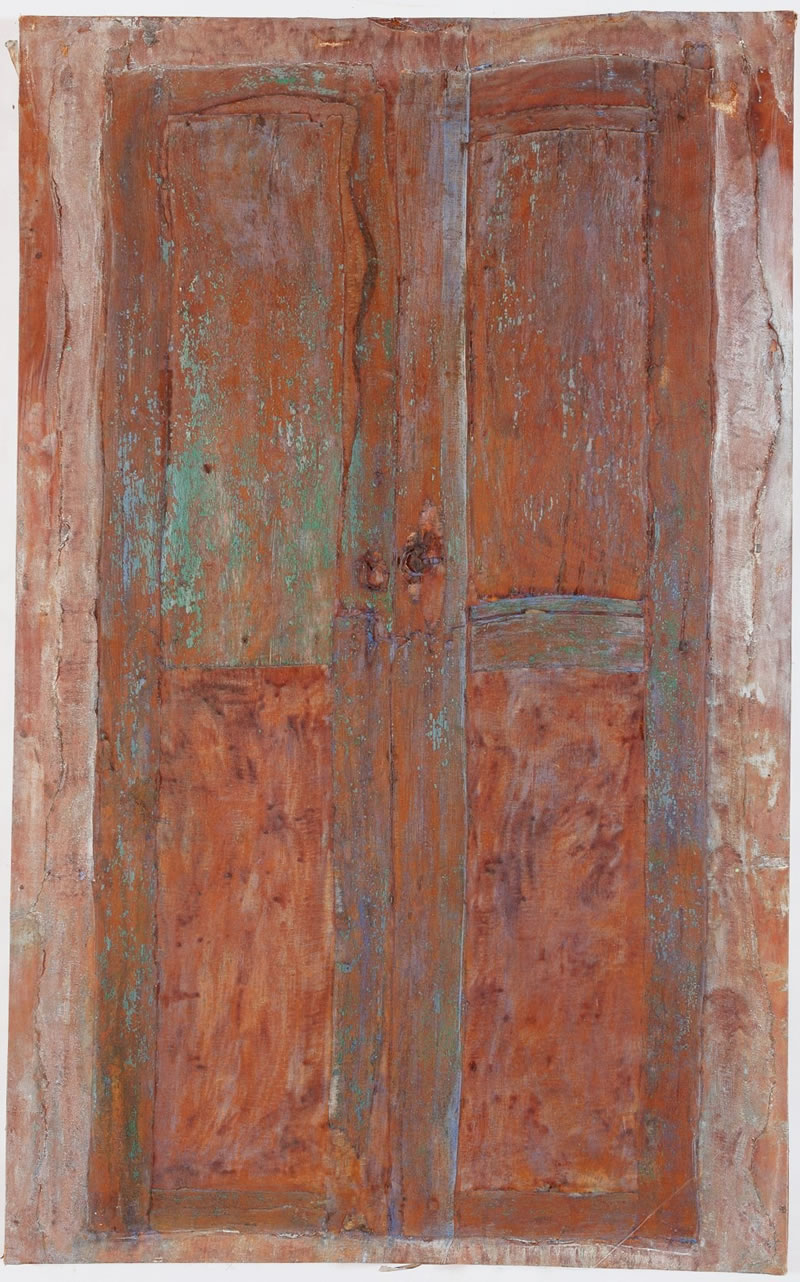 1985 Puerta Azul, Textile and Latex, mother-of-pearl pigments Canvas, Lanzarote, Spain 210 x 130cm