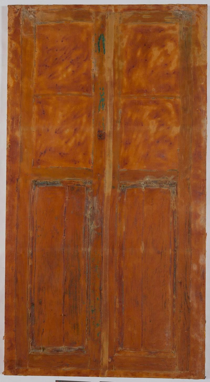 1987 Puerta Marron, Textile and Latex on canvas, Lanzarote, Spain, 210x113cm