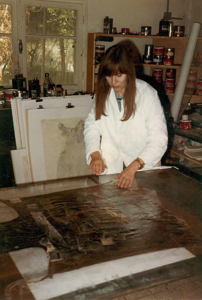 Heidi Bucher, working on her 'Frottage Series', Fondation Maeght, St. Paul de Vence 1978