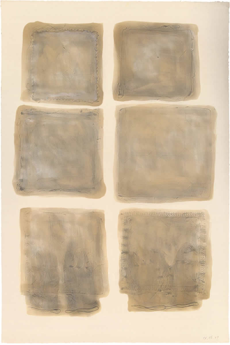 1978 Frottage of folded textile, Linseed oil, graphite and mother of pearl pigment on paper 80x120cm -2